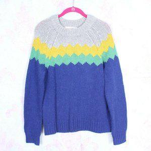 Boden UK 12 US 8 Wool Alpaca Chevron Yoke Sweater